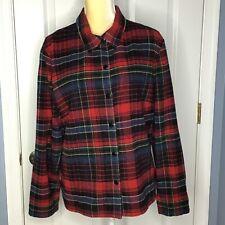 Women's Tartan Plaid Shirt Jacket Shacket Snap Down Front Size XL