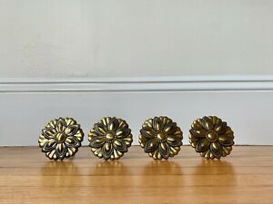 Gold Flower Medallion Curtain Holdbacks, Set of Four Gold Curtain Tiebacks