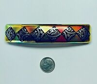 "Handmade By Janet Wolery - 4"" Dichroic Fused Glass Barrette - PIRATE GOLD"