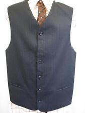40R M - Vintage 70's Mens Blue Stripe Wool Waistcoat Suit Vest Mod Folk - U246