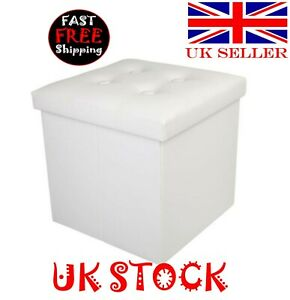 PU Leather Footstool with Leather Buckle White - UK