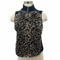 Jamie Sadock Fur Vest Black Sweater Vest Knit Trim Leopard Print Women's Size S