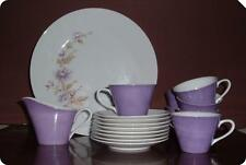 Vintage China Enchante Fine Porcelain PURPLE - LAVENDER Set of 18 pc. Japan RARE