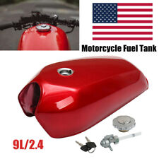 9L/2.4Gal Steel Motorcycle Gallon Vintage Fuel Gas Tank&Tap Cafe Racer General