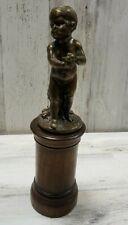 Bronze on Wood Base Baby/Child bird Nude Sculpture Figurine Statue (b15)