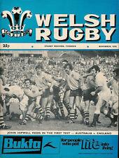 WELSH RUGBY MAGAZINE NOV 1975 AUSTRALIA TOUR WALES, PONTYPRIDD, NEW DOCK STARS