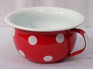 Enamel Chamber Pot, Pee Pot, Nostalgia Night, Spots Red White