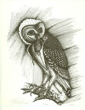 Owl With Prey Limited Edition Print Pencil Signed Numbered Dated 1985