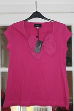 LADIES 100% COTTON PINK COLOURED CAP SLEEVED T-SHIRT WITH BOW @ ELEGANCE SIZE 14