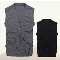 Men Knitted Vest Sleeveless Bottons Cardigan Jumper Sweater Vintage Knitwear New