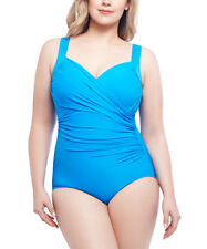 Miraclesuit Sanibel Underwire One-Piece Swimsuit Turquoise Size 24W 1342