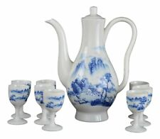 9 Pcs Wine Liquor Spirit Sake Alcohol Porcelain Pot Set 1 Pot 8 Cups Chinese .