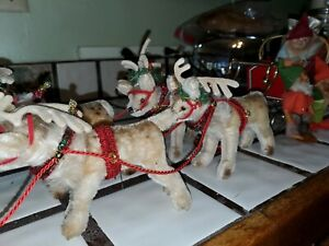 Vintage Steiff Reindeer Sleigh