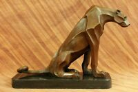 LARGE BRONZE SCULPTURE LION PANTHER TIGER PUMA COUGAR CAT STATUE AFRICAN ART