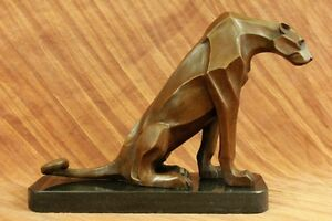 Handcrafted Modern Abstract Jaguar by Henry Moore Bronze Sculpture Statue Figure