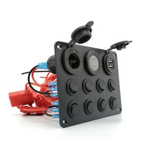 Car 8 Gang Switch Panel Digital Voltmeter Dual USB LED Light w/Cigarette Lighter