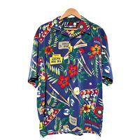 Box Office Island Mens Hawaiian Aloha Camp Shirt Waikiki Pool Billiards Size L