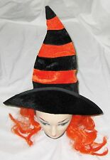 Orange Black Striped One Size Costume Witch Hat with Hair