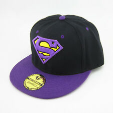 New DC Comics Adjustable Snapback Superman flat baseball Hat cap Purple Black
