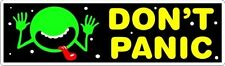 """Hitchhiker's Guide - HHGTTG - Don't Panic with Face Sticker - 2.5"""" x 8.5"""""""
