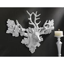 Wildlife Gorgeous Deer Wide Antlers Wall Mounted Trophy Animal Sculpture: White