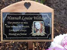 Oak wooden grave marker with personalised memorial plaque for burial ground.