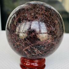 277g  Natural Almandine Wine Red Garnet Crystal Sphere Ball +stand