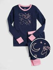 GAP Girls Pegasus Pajama Set Sleepwear Long Sleeve/Pants, Navy Blue Pink Pegasus