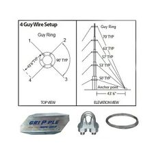 """50' ft 4 Way Down Guy Wire Kit w/ 48"""" Anchors for Telescoping Antenna Masts"""