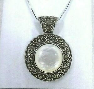Deceased Estate Natural White Mother Of Pearl/Marcasite Sterling Silver Necklace
