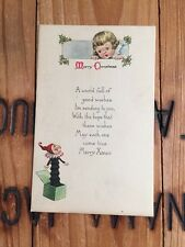 1919 Christmas Postcard Little Girl Jack-in-the-box Merry Xmas Poem