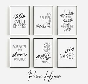 Scripted Bathroom Prints Wall Art Pictures Funny Toilet Poster Home Quotes