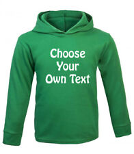 Personalised Girls' Boys' Long Sleeved Hoodie T-Shirt Green, 3-4, 4-5, 5-6 years