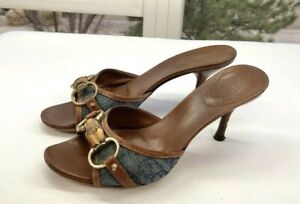 Gucci Womens GG Monogram Blue and Tan Horsebit Mules Size 36