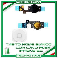 TASTO HOME BUTTON COMPLETO FLAT FLEX per APPLE IPHONE 5C BOTTONE WHITE BIANCO
