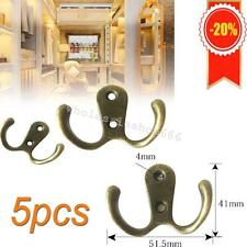 5pcs Bronze Vintage Double Prong Coat Hook Hanger Hanging Clothes Coat Organize
