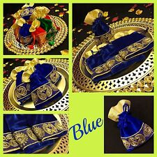 Blue Drawstring Pouch Velvet Gold Trim Pouch Wedding Jewellery Gift Bag 16/11cm