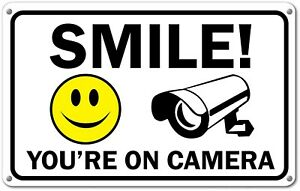 """Smile You're on Camera Sign Video Surveillance Signs 11""""x 7"""" UV Protected cctv"""