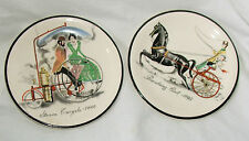 TWO small vintage plates Breaking Cart 1895 Steam Tricycle 1888 Pall Mall Ware