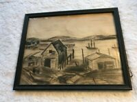 Vintage Charcoal or Dark Pencil Drawing of ships, docks, piers, maritime, framed