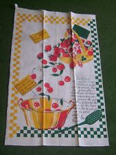 """Torchon vintage """"Confiture aux quatre fruits"""" neuf mesurant 49 cm X 76 cm"""