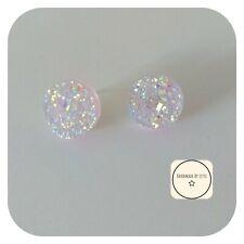 White Lilac Druzy Glitter Stud Earrings✨🌟 handmade