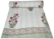 Indian Floral Print Cotton Queen Kantha Quilt Bedspread Bedding Blanket Throw