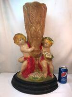 Vtg 1930-40's RARE Chalkware LARGE Vase Boy Girl Children Cherub Carnival Prize?