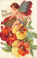 Valentine Postcard Butterfly Cherub Basket of Hearts, Arrows, Flowers~127588
