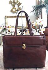 Valentina Vintage Brown Leather Tote Satchel Shoulder Handbag Made In Italy EUC