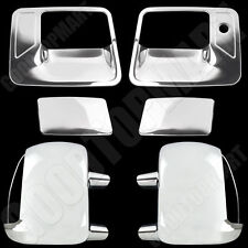 Chrome Mirror W/ Sign 2 Doors handles covers for FORD F-250/350 99-07