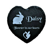 Personalised Engraved Slate Stone Heart Pet Memorial Grave Marker Plaque Rabbit