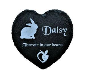 Personalised Engraved Slate Heart Pet Memorial Grave Marker Plaque Bunny Rabbit