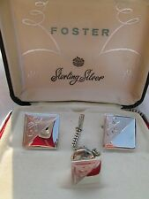 FOSTER STERLING STERLING SILVER DIAMOND ETCHED CUFFLINKS & TIETACK